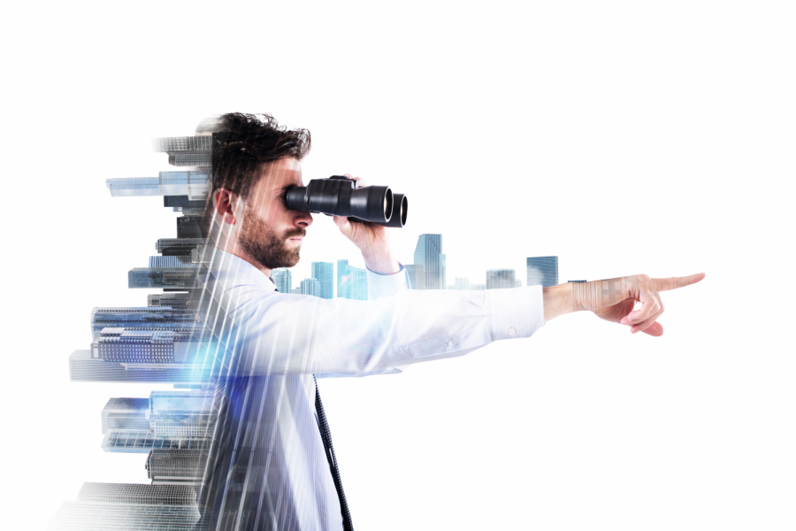 Businessman looks through binoculars away with city and aircraft on background Bild: alphaspirit/stock.adobe.com