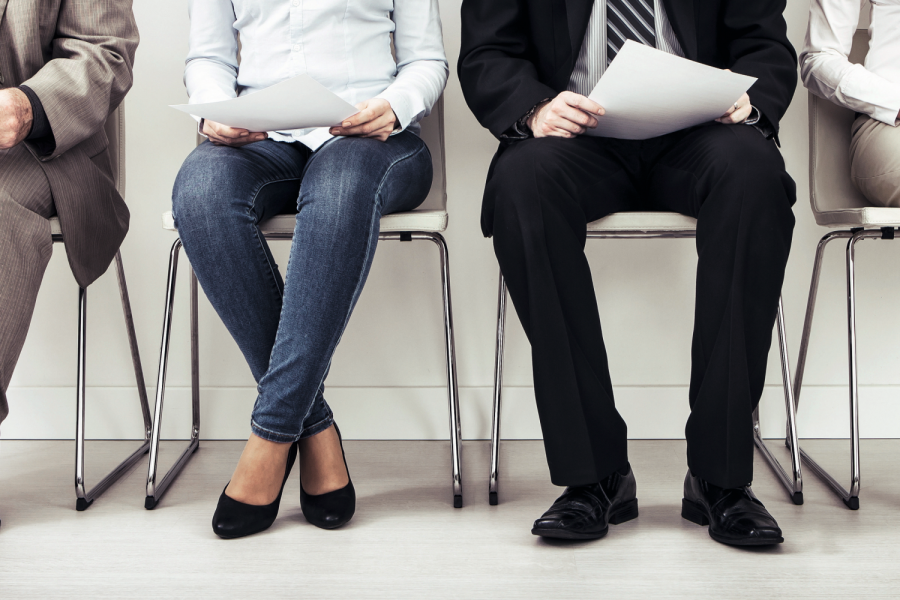 recruitment recruiting hire recruit hiring recruiter interview employment job exam room stress stressful position young group formal work chair corporation sitting diversity concept - stock image Bild: REDPIXEL/stock.adobe.com